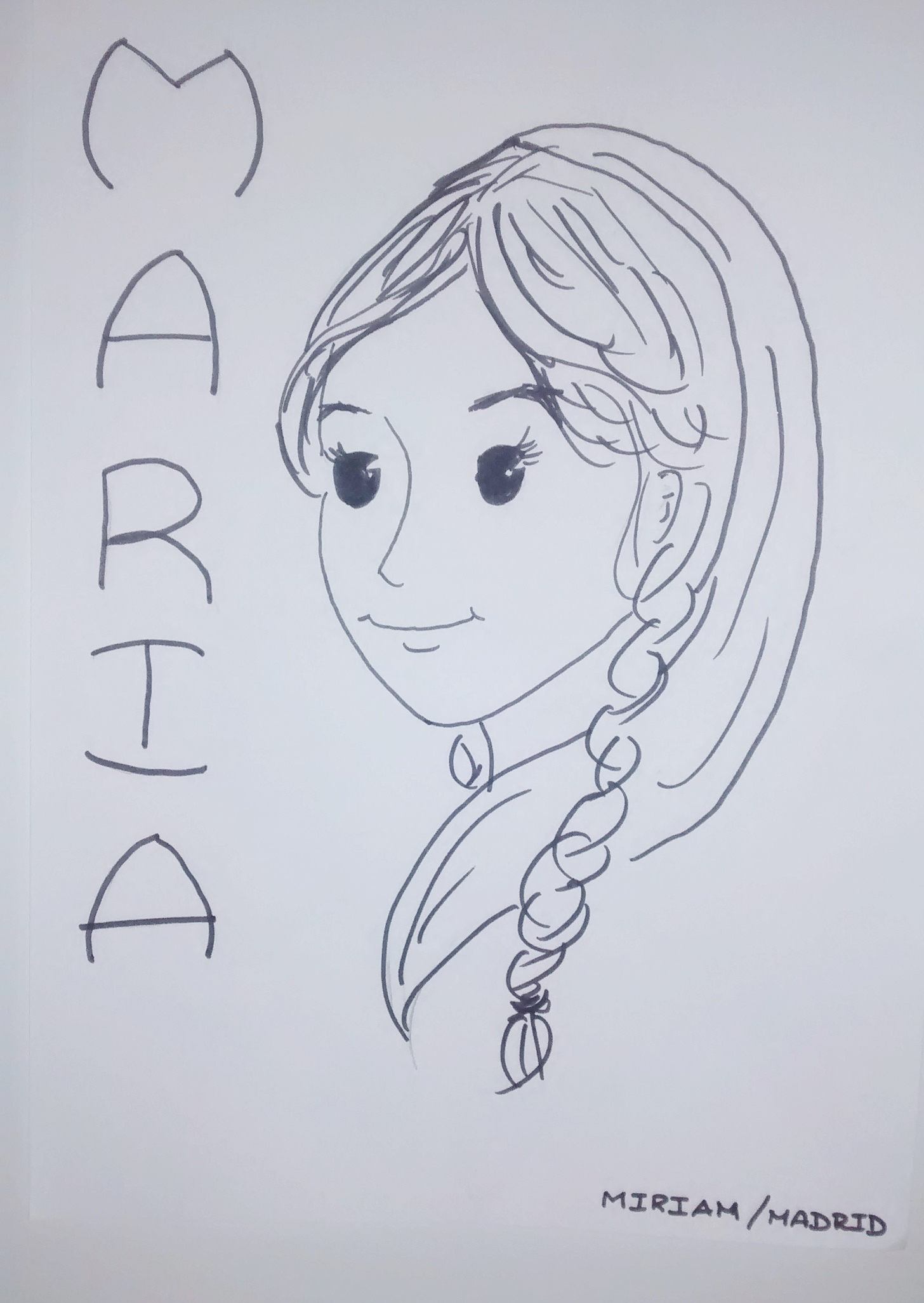 Dibujo de la Virgen María