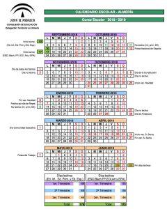 Calendario Escolar 2020 19 Almeria.Calendario Escolar De La Provincia De Almeria Para El Curso 2018 2019