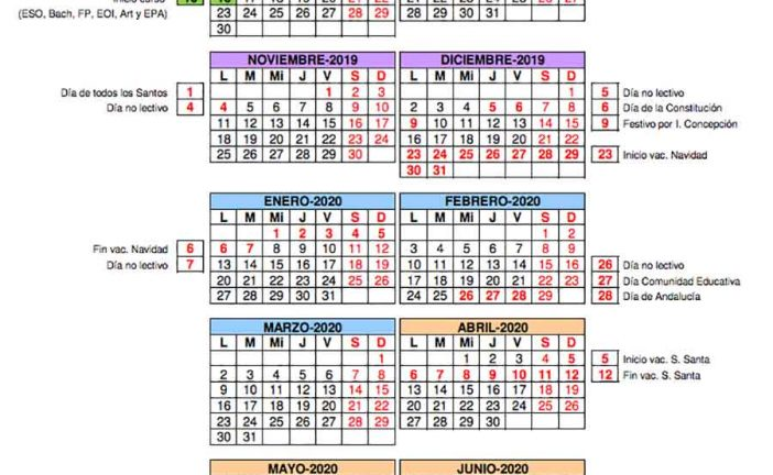 Calendario escolar Almería para el curso 2019-2020 [Descargar]
