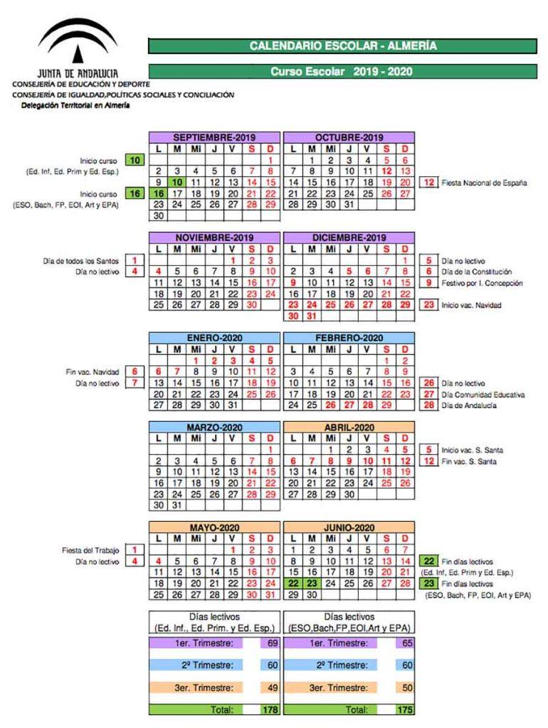 Calendario Escolar 2020 Andalucia.Calendario Escolar Almeria Para El Curso 2019 2020 Descargar
