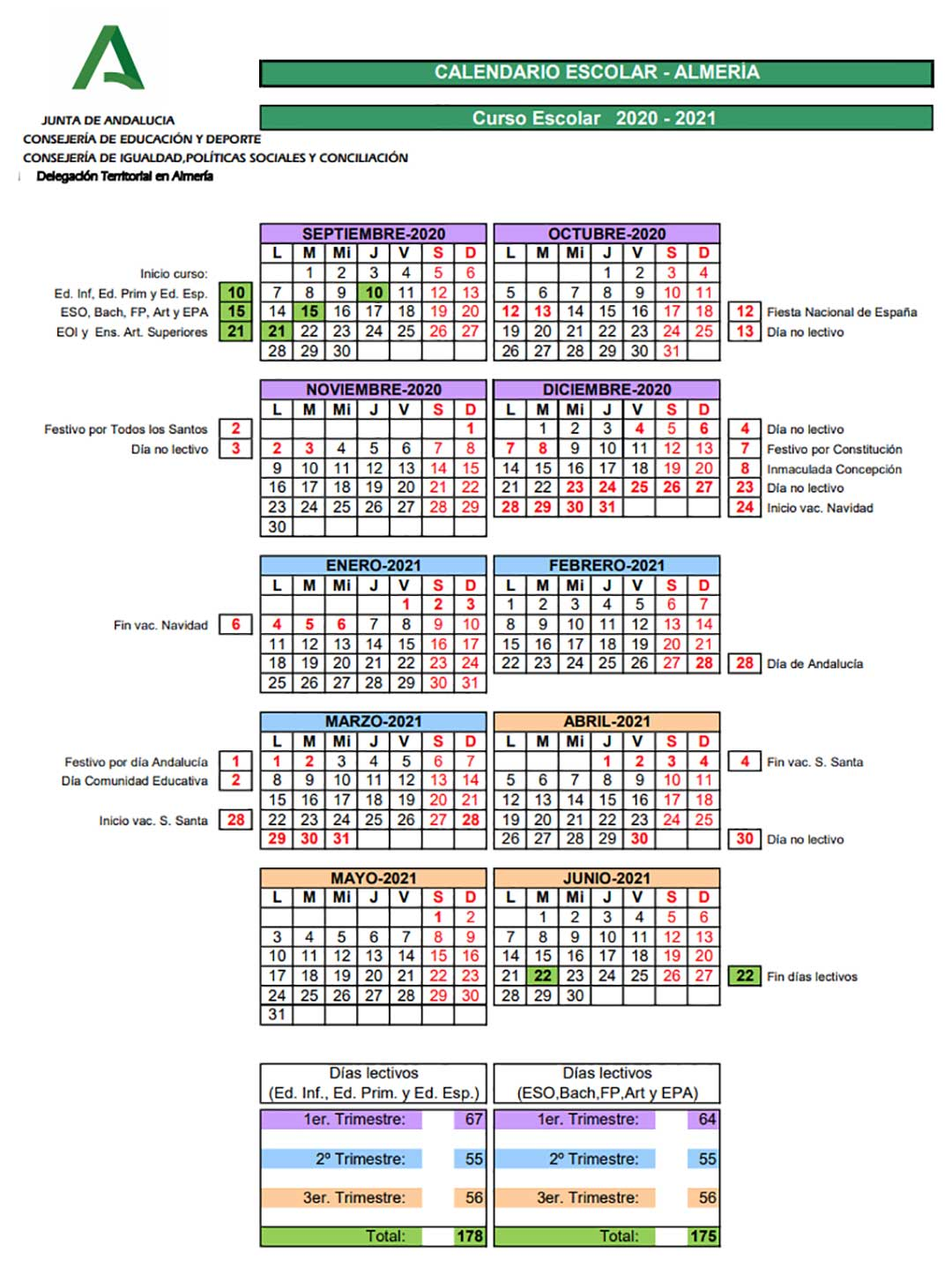 Calendario escolar Almeria curso 2020-2021