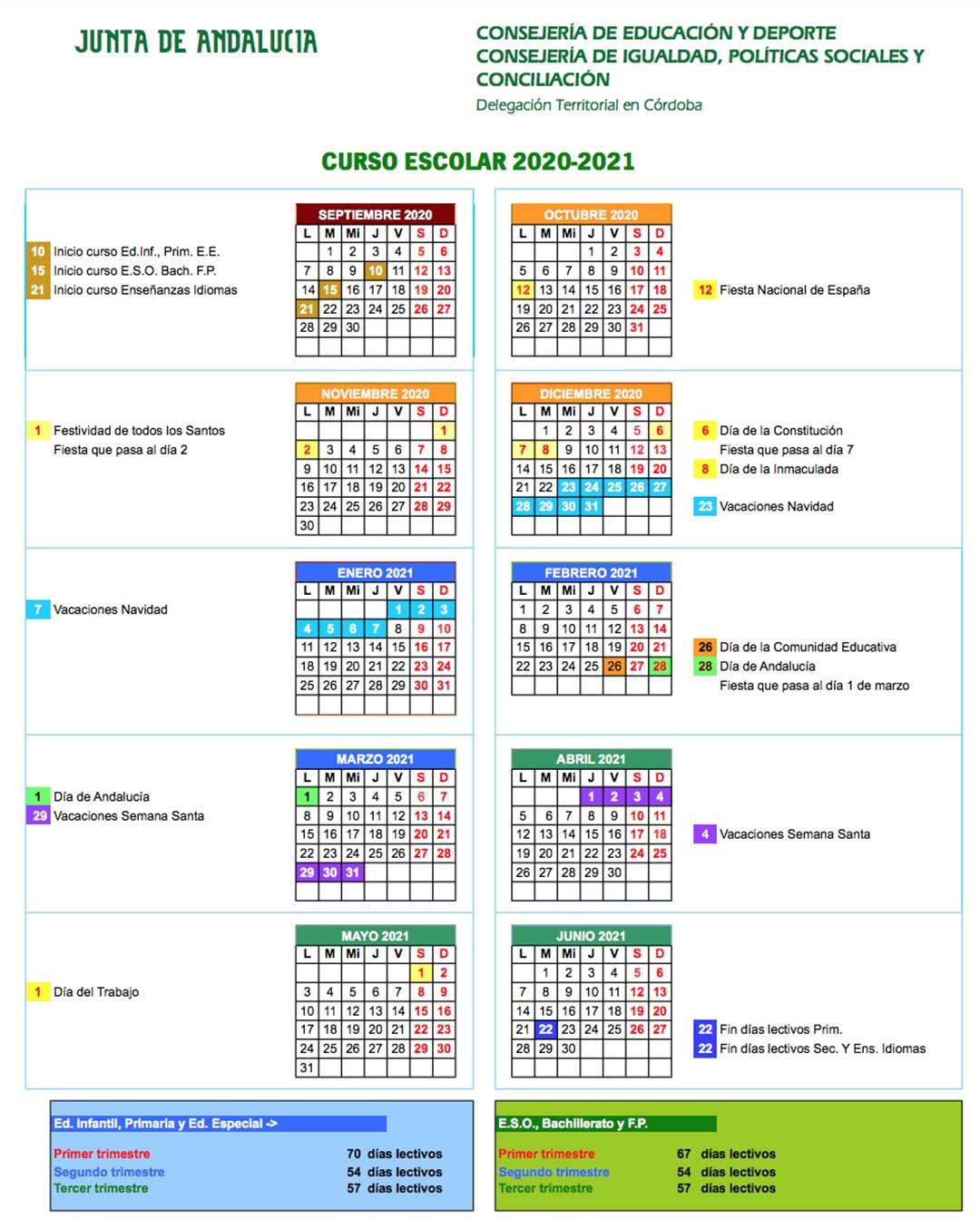 Calendario escolar Córdoba 2020-21