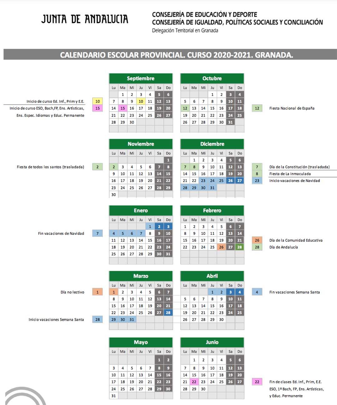 Calendario escolar Granada 2020-2021