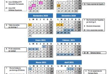 Calendario escolar Málaga curso 2020-2021