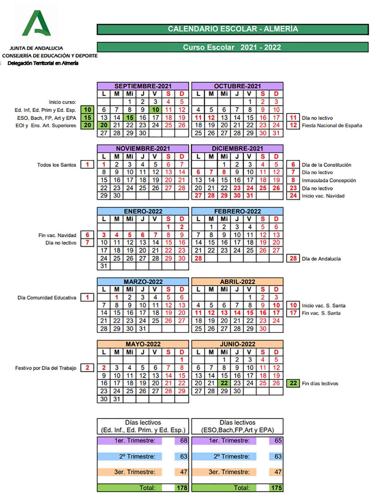 Calendario escolar Almería 2021-2022