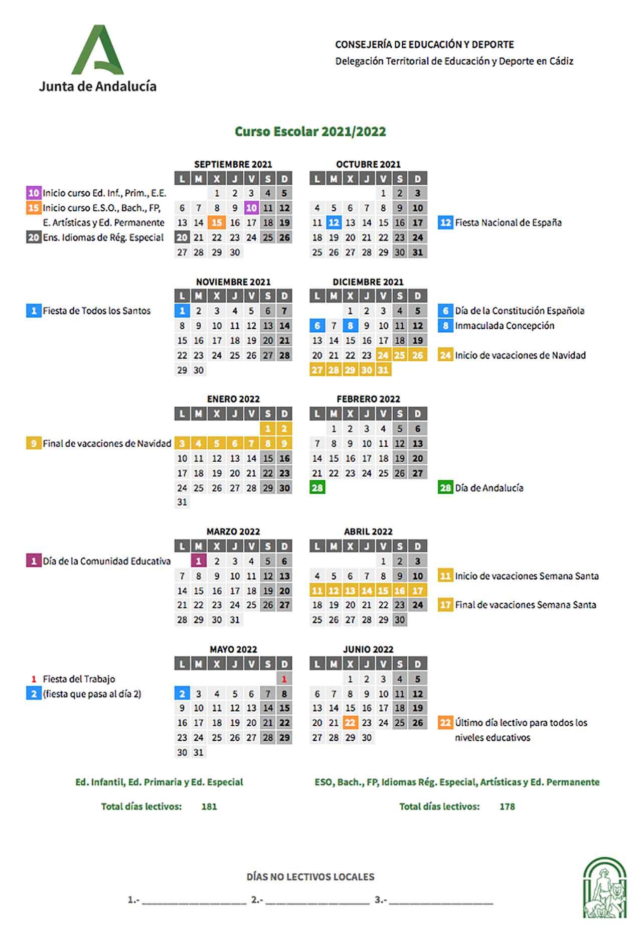 Calendario escolar Cádiz 2021-2022