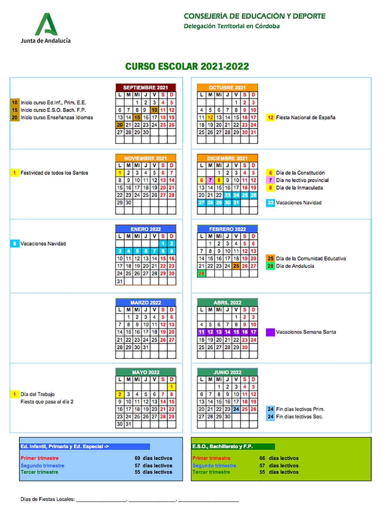 Calendario escolar Córdoba 2021-2022
