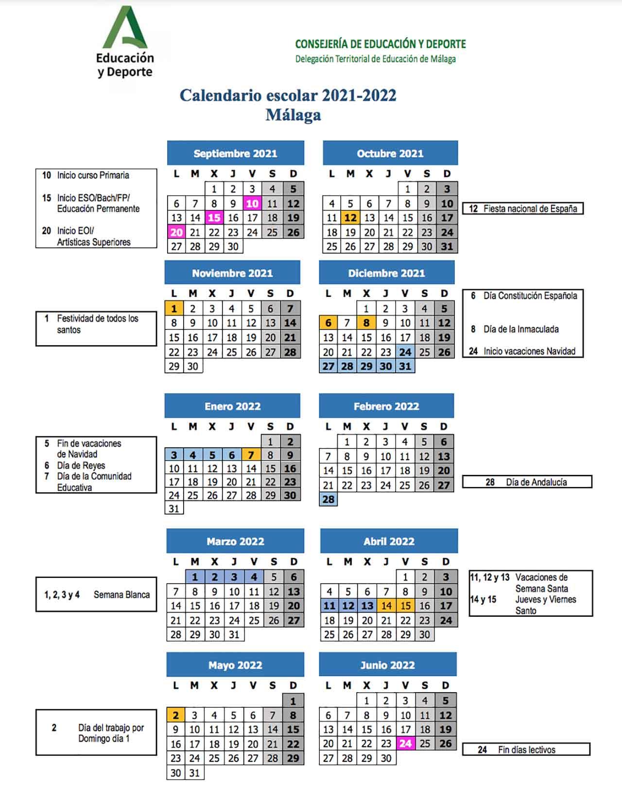 Calendario escolar Málaga 2021-22