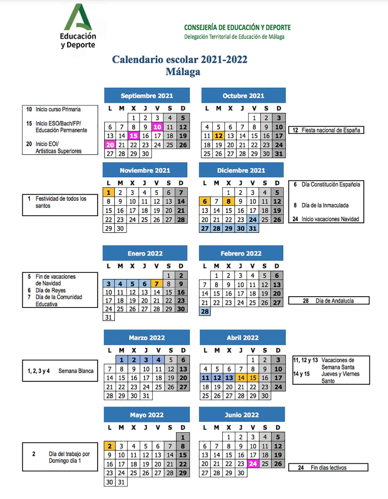 Calendario Escolar Malaga Curso 2021 2022 Educaciondivertida Com