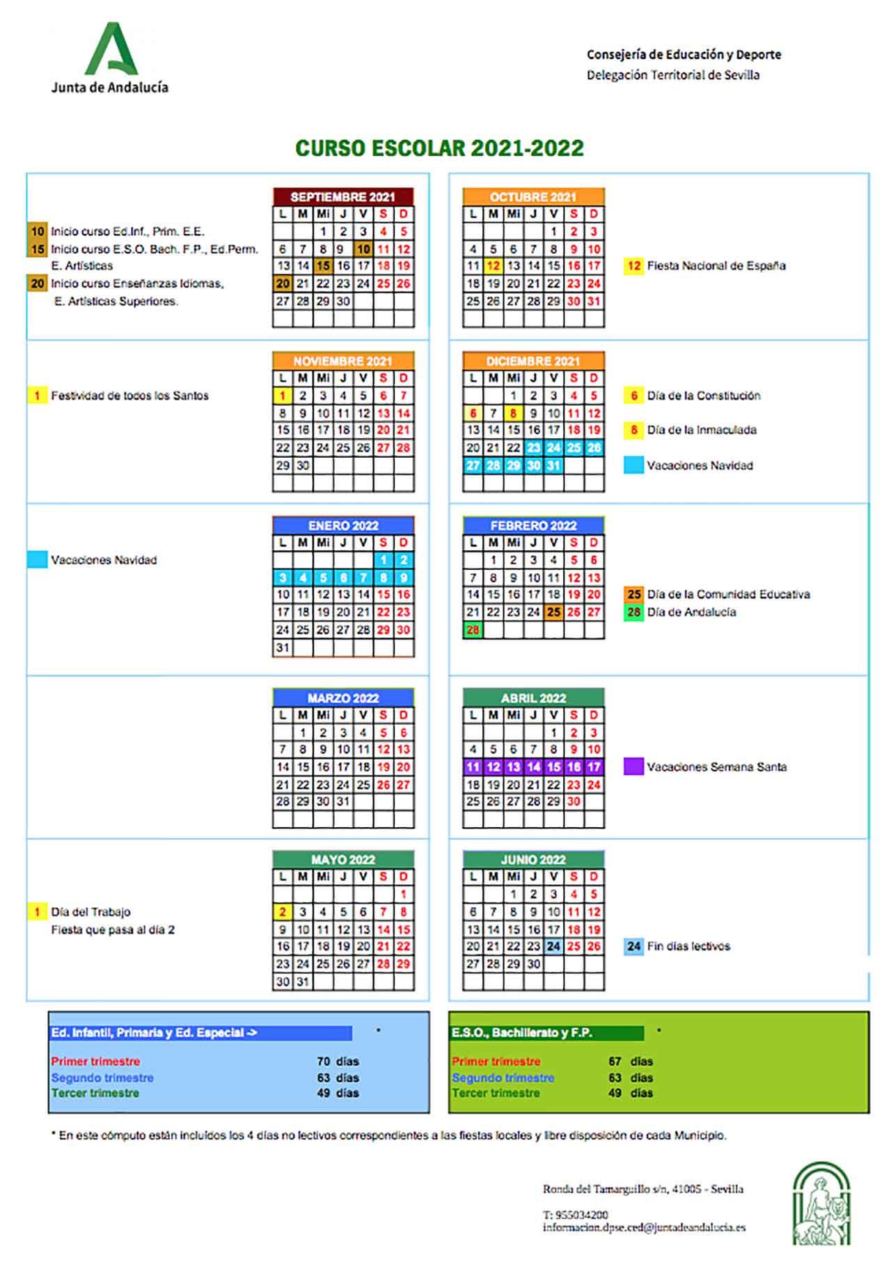Calendario escolar Sevilla 2021-2022